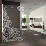 Walk In Dusche gelasert mit Motiv Floralish