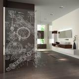 Walk In Dusche gelasert mit Motiv Technisch