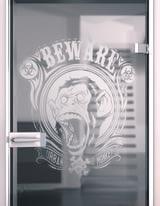 Glastür gelasert mit Motiv Affenkäfig
