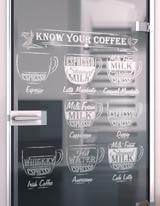 Glastür gelasert mit Motiv My coffee