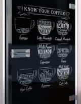 Glastür lackiert mit Lasermotiv Black Coffee