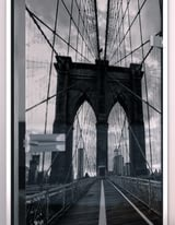 Glastür lackiert mit Lasermotiv Brooklyn Bridge