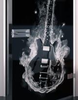 Glastür lackiert mit Lasermotiv Hot Guitar