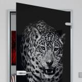 Glastür lackiert mit Lasermotiv Jaguar