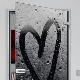 Glastür lackiert mit Lasermotiv Steamy Heart